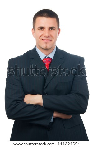 Portrait of handsome smiling businessman isolated on white. - stock photo