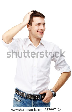 Portrait of handsome smiling sexy man against white background - stock photo