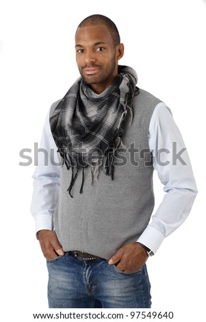 Portrait of handsome stylish afro man smiling confidently, isolated on white. - stock photo