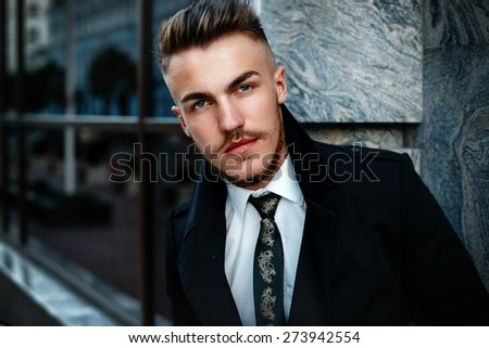 Portrait of handsome stylish man - stock photo