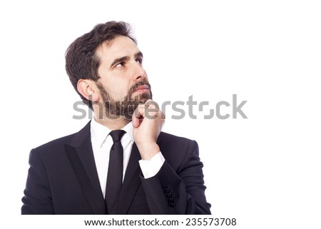 Portrait of handsome thoughtful business man, isolated on white background