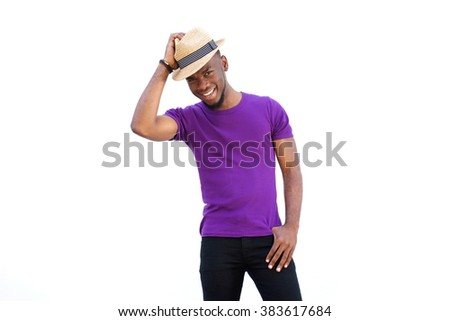 Portrait of handsome young african man with hat smiling against white background - stock photo
