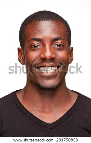 portrait of handsome young black african smiling man,  isolated on white background. Positive human emotions. face close up - stock photo
