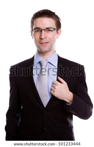 Portrait of handsome young business man against white background