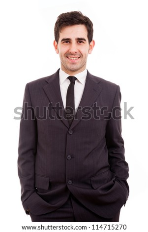 Portrait of handsome young business man smiling over white background