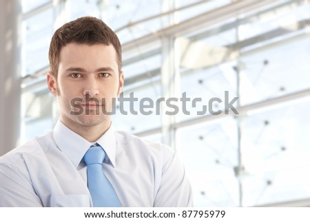 Portrait of handsome young businessman smiling front of window.? - stock photo