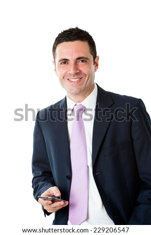 Portrait of Handsome young businessman wearing suit standing with smart phone.Isolated on white background.