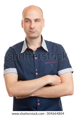 Portrait of handsome young doubtful man isolated over white background - stock photo