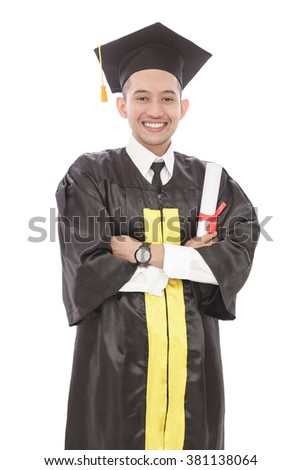 portrait of handsome young graduation man with armcrossed smiling while holding diploma isolated on white background