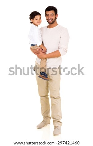 portrait of handsome young indian man with his little son - stock photo