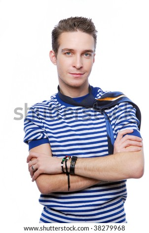Portrait of handsome young man on a white background