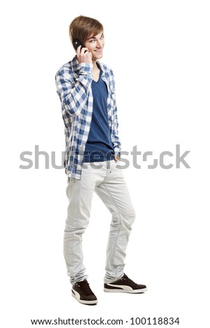Portrait of handsome young man using mobile phone, isolated on white background