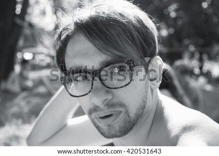 Portrait of handsome young man wearing in eyeglasses