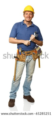 portrait of handyman holding wrench isolated on white - stock photo