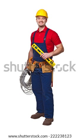 portrait of handyman with cable isolated on white