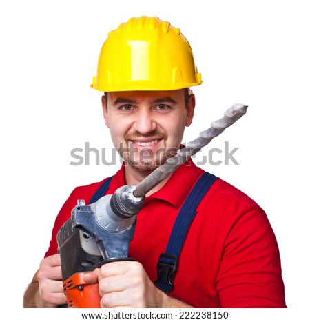portrait of handyman with electric drill isolated on white