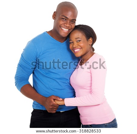 portrait of happy african couple on white background