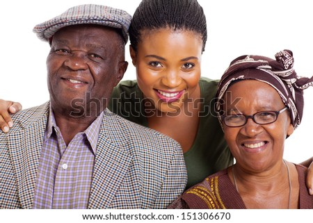 portrait of happy african family on white background - stock photo