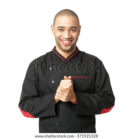 Portrait of  happy Afro American professional cook isolated on white.