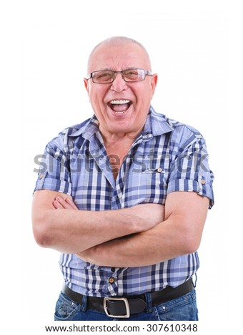 Portrait of happy and smile with white teeth 75 years old senior man in jeans, shirt, glasses, crossed his arms. Positive emotion facial expression feeling. Isolated white background.  - stock photo