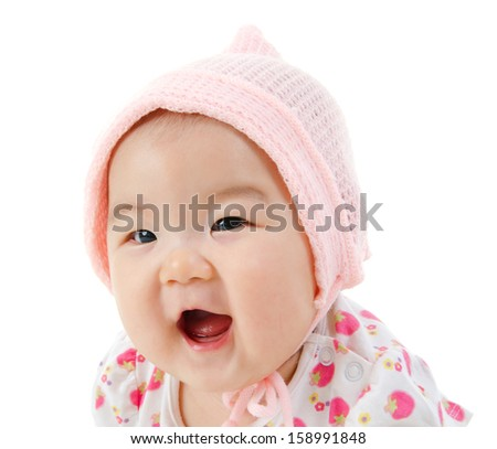 Portrait of happy Asian baby girl smiling, isolated on white background - stock photo