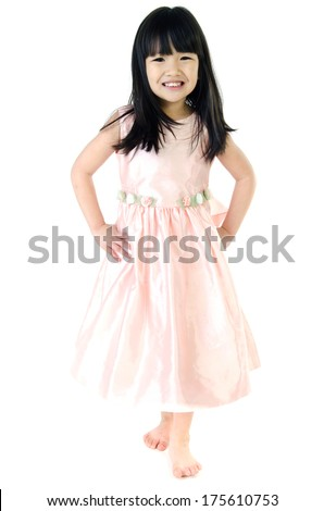 Portrait of Happy asian cutegirl isolate on white background .