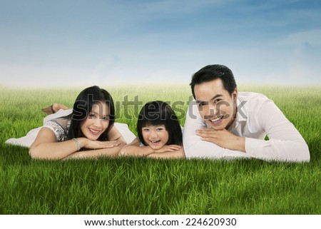 Portrait of happy asian family lying on grass and smiling at camera - stock photo