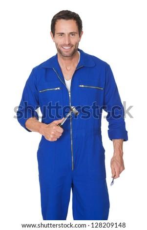 Portrait of happy automechanic. Isolated on white - stock photo