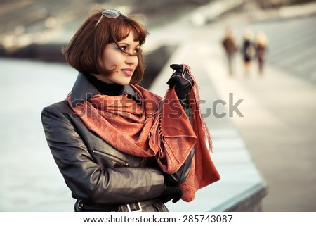 Portrait of happy beautiful fashion woman outdoor