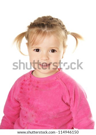 Portrait of happy beautiful smiling little girl isolated on white background - stock photo