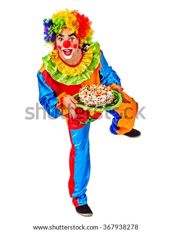 Portrait of happy birthday clown holding bunch of colour balloons.  Isolated. - stock photo