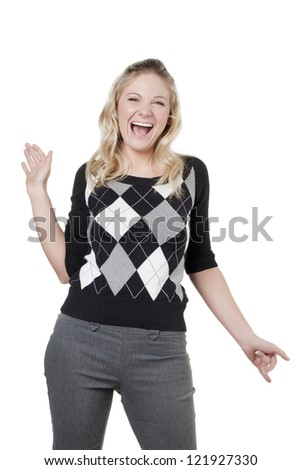 Portrait of happy blonde woman against white background - stock photo