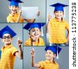 Portrait of happy boy in graduation hat over grey background - stock photo