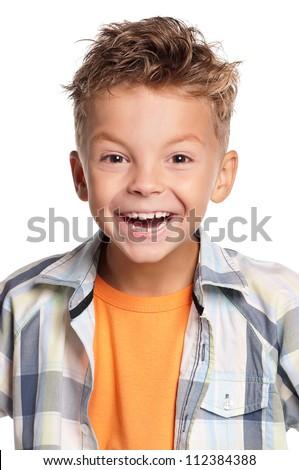 Portrait of happy boy isolated on white background - stock photo