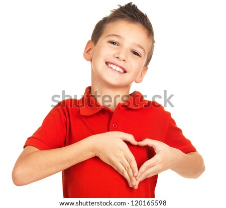 Portrait of happy boy with a heart shape isolated on white background - stock photo