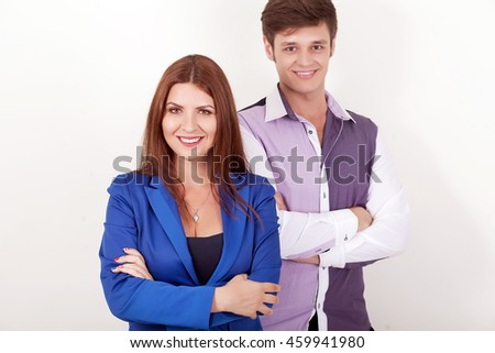 Portrait Of Happy Business Couple Standing Together Isolated On White Background