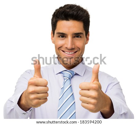 Portrait of happy businessman gesturing thumbs up isolated over white background. Horizontal shot. - stock photo