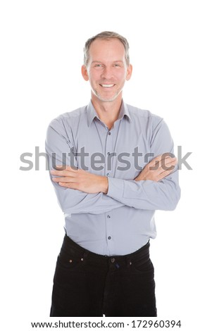 Portrait Of Happy Businessman Isolated On White Background