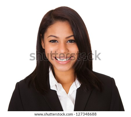 Portrait Of Happy Businesswoman. Isolated on white - stock photo