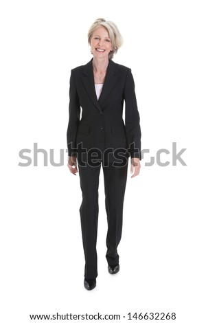 Portrait Of Happy Businesswoman On White Background - stock photo