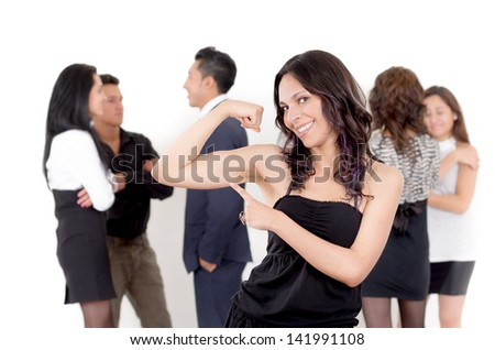 Portrait of Happy businesswoman, team in background - stock photo