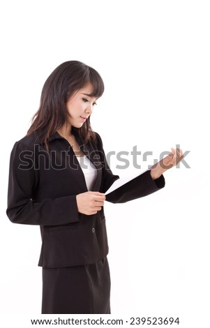 portrait of happy, calm, cool, confident asian professional business woman executive looking at document, isolated white background