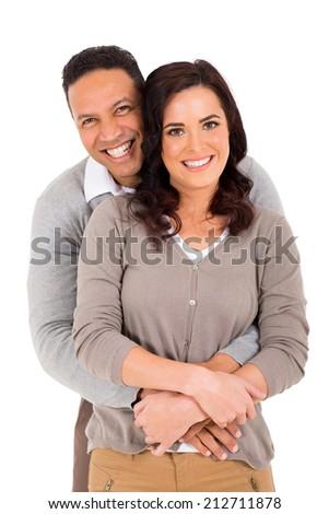 portrait of happy couple isolated on white background - stock photo