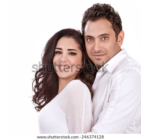 Portrait of happy couple isolated on white background, romantic relationship, Valentine day, love and happiness concept - stock photo
