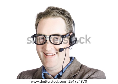 Portrait Of Happy Customer Care Male Executive With Headset On White Background - stock photo