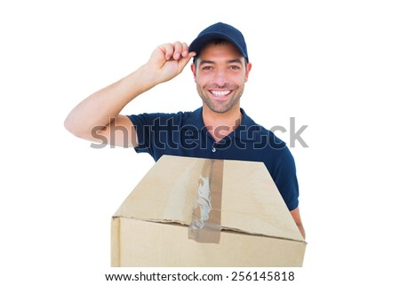 Portrait of happy delivery man wearing cap while holding cardboard box on white background - stock photo