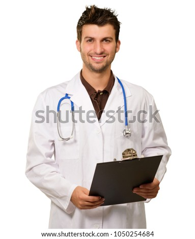 Portrait Of Happy Doctor Holding Clipboard On White Background