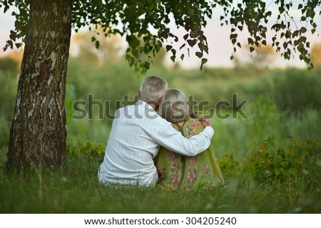 Portrait of happy elderly couple  on nature at summer,back view - stock photo