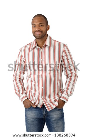 Portrait of happy ethnic guy in striped shirt, cutout on white. - stock photo
