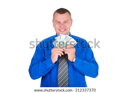 Portrait of happy, excited, successful, lucky business man in shirt and tie holding money euros banknotes in hands. Looking to camera. isolated white background. Positive emotion. Reward savings - stock photo